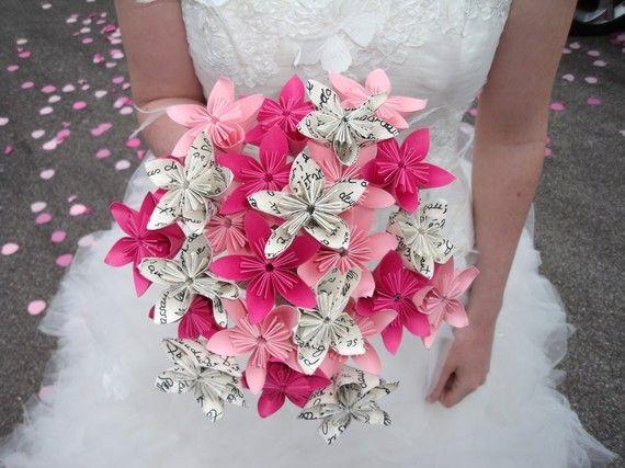 Bouquet de mariée original en papier - fleurs origami