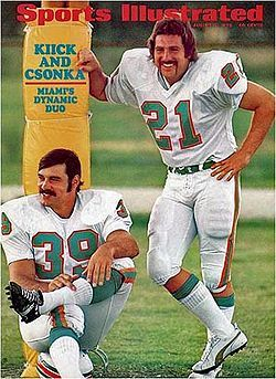 larry csonka and Kick 1970 Miami dolphins, my aunt took their EKGs at JMH and sent me their autographs on the EKG papers which later faded and got destroyed by Hurricane Andrew, but the fact that they were so kind to her to autograph them for some little kid.