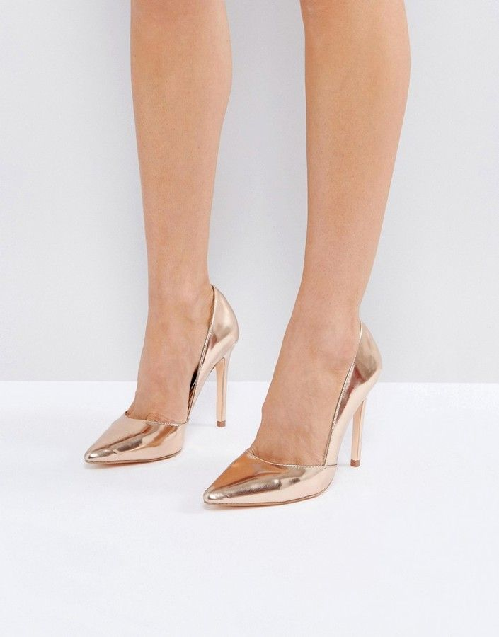 London Rebel Pointed Metallic High Heels