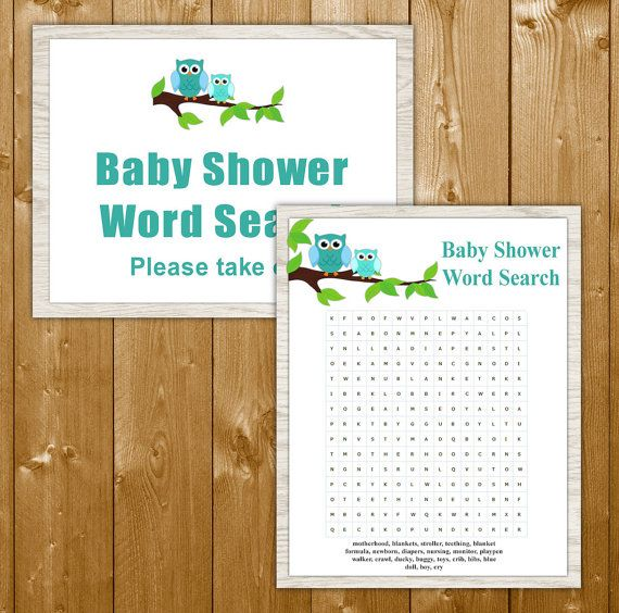 Owl Word Search Game Baby Shower Printable, Blue Baby Shower Games, Boy Shower Games, Instant Download