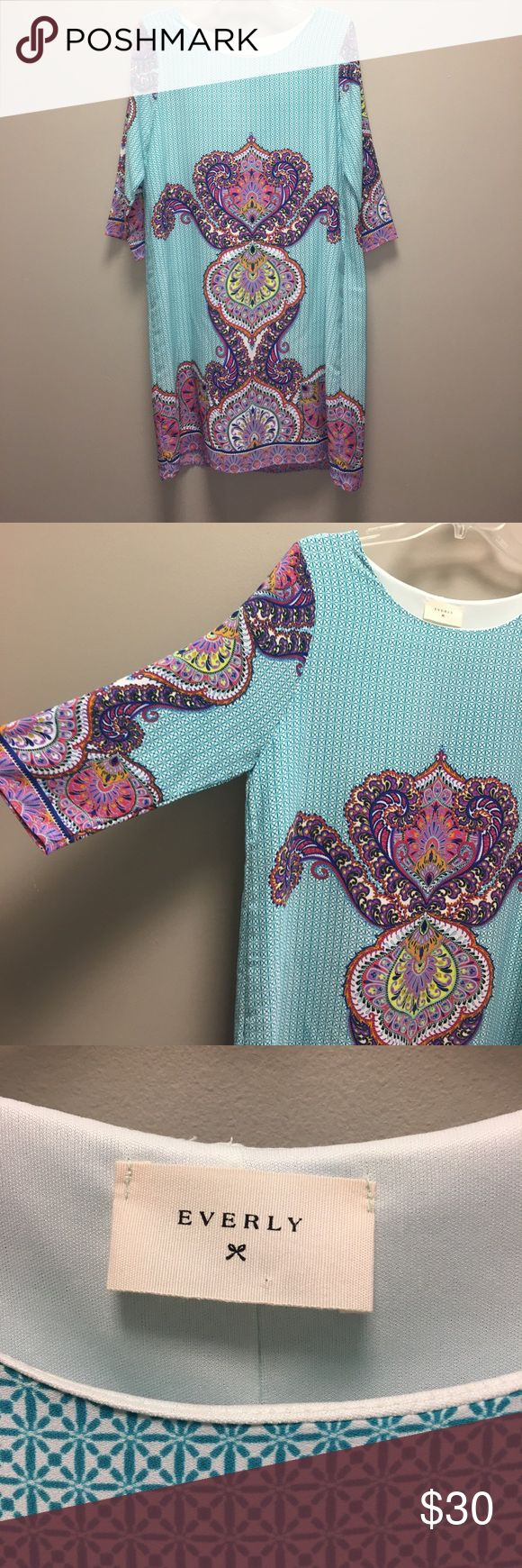 Everly Dress Teal/multi. Size L. Everly Dresses