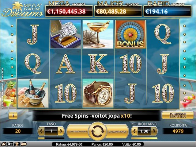 Mega Fortune Dreams on 5 kiekon, 3 rivin ja 20 linjan videokolikkopeli, jossa on korvaavia Wild-merkkejä, ilmaiskierroksia kertoimella ja Bonus Game, jossa voi voittaa Jackpotin.