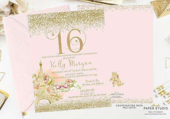 Paris Birthday Invitation, Sweet 16 Invitation, Quinceanera, Custom Invitation, Pink Birthday Invite, 21st Birthday, 50th Birthday, BD100