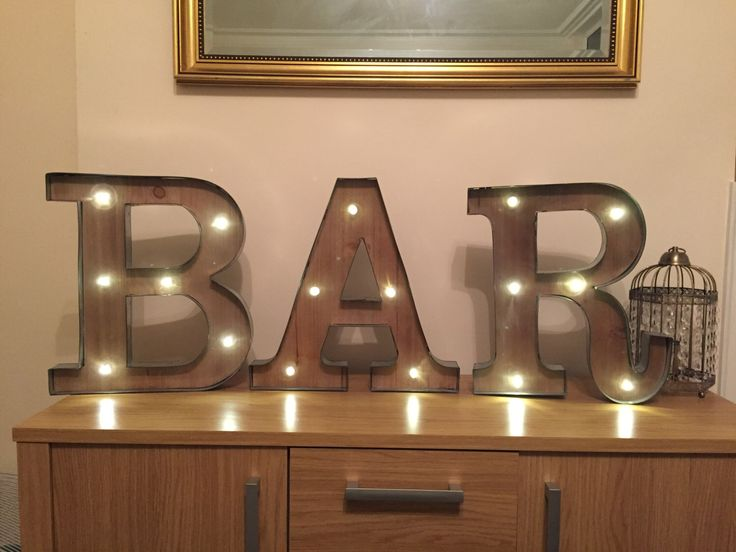 Wall Mounted Letter Lights : Freestanding BAR Wooden Rustic 16