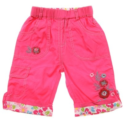 c.Hot Pink 3/4 Pants With Flower Cuffs And Embroided Flowers/Button On Leg-AJ52630-HotPink $15.00 on Ozsale.com.au