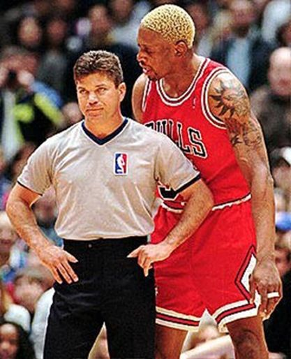 """Bring it on ref. Lets go you and me 1 on 1"" What every basketball player wants to do to a ref"