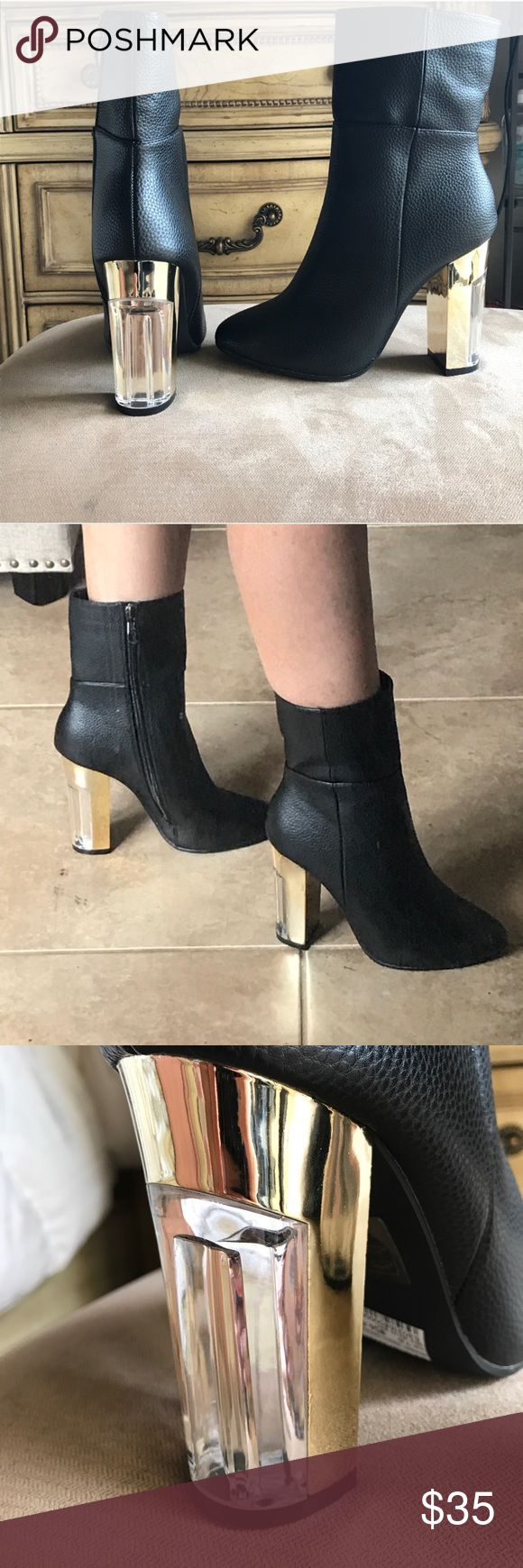 Leather zip up boot Brand new! Charlotte ruse. Super comfy. Gold and clear accent heel Shoes Heeled Boots