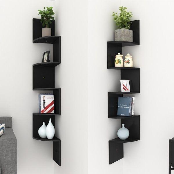 Modern 5 Tier Corner Floating Shelves Wall Mount Home Decor Display Shelf Wish Wooden Corner Shelf Floating Shelves Decorating Shelves