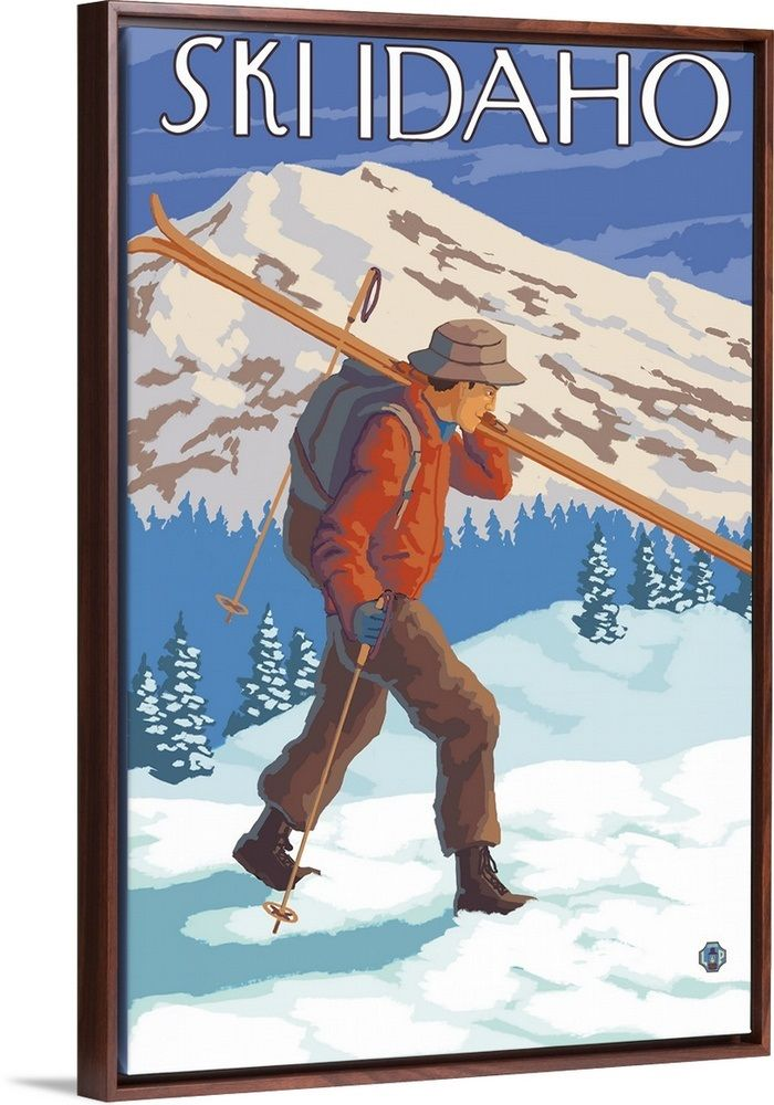 Skier Carrying Snow Skis Idaho Retro Travel Poster Vintage Ski Posters Ski Posters Ski Art