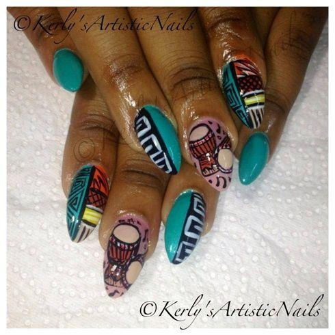 African Beat by KerlysNails from Nail Art Gallery Pinned by www.beautyenbijoux.nl