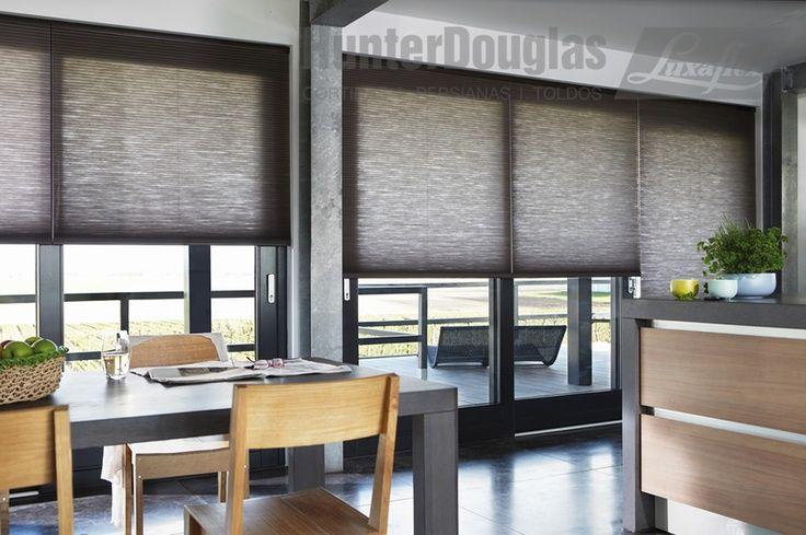 moderne keuken, raamdecoratie, gordijnen, duettes, plisse van Maatstudio.nl Antraciet