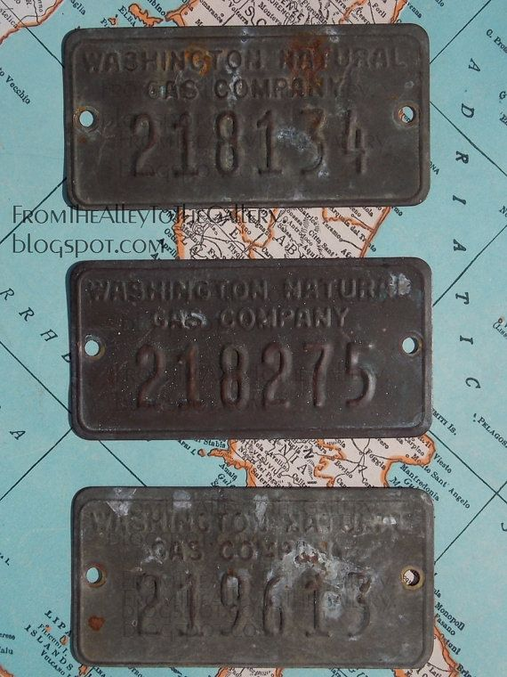 ONE Vintage Washington Natural Gas Company Brass Tag w/ Numbers EXCELLENT Patina for Assemblage, Mixed Media, Art, Jewelry or Collection