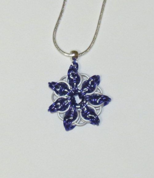 Star Flower Chainmaille Flower Pendant by PawInspiredCreations