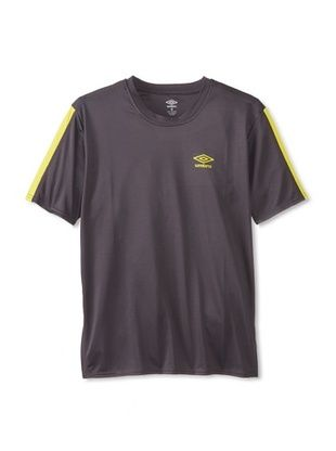 50% OFF Umbro Men's Flat Back Mesh with Pieced Stripe Shirt (Dark Charcoal/Cyber Yellow)