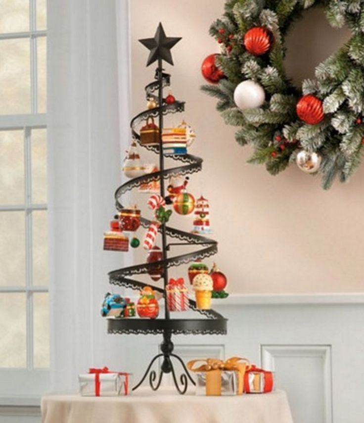 Metal Tabletop Christmas Tree: Metal Spiral Christmas Ornament Tree Tabletop Home Decor