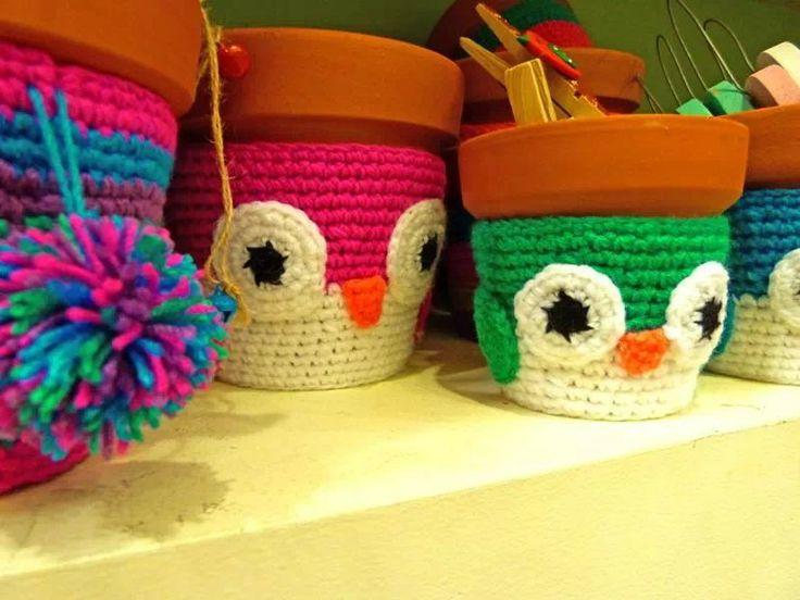 Macetas lechucitas crochet