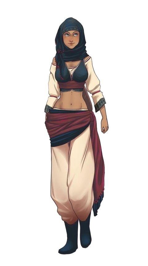 Female Human Desert City Commoner - Pathfinder PFRPG DND D&D 3.5 5th ed d20 fantasy