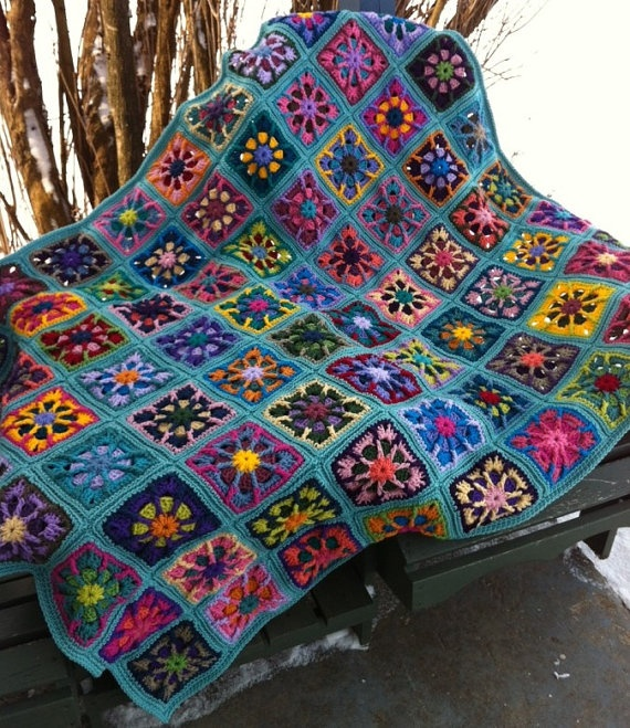 """48"""" x 60"""" kaleidoscope multi colored granny square afghan in 28 colors?"""