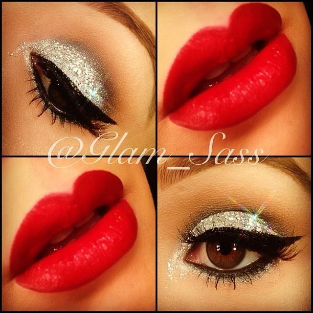 .silver glitter eye make up