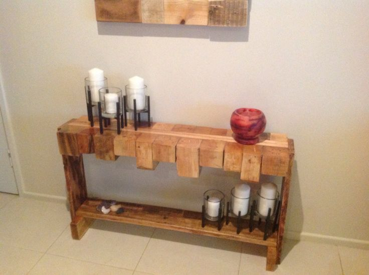 Unique rustic console table made from recycled pallet wood. by Touchwood Creations.