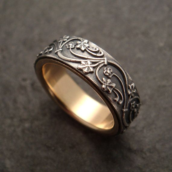 Art Deco Ivy Wedding Band lined with 14k by DownToTheWireDesigns