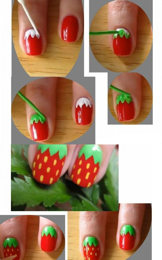 complicated strawberry nail design