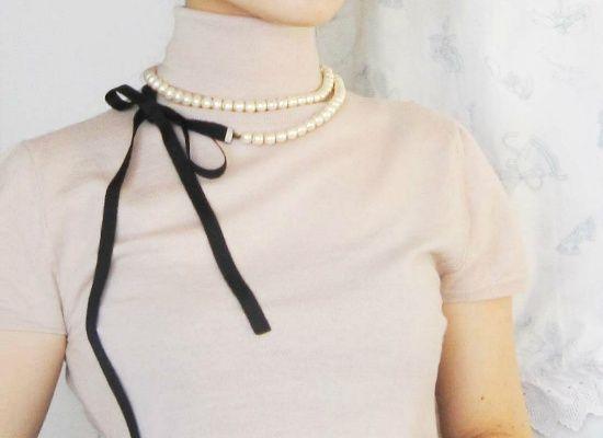 リボンで結ぶから可愛い、基本のロングコットンパールネックレス | 美容ブログ [女性の美学]