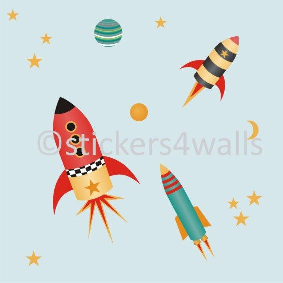 Rockets and planets decorative fabric wall by Stickers4Walls