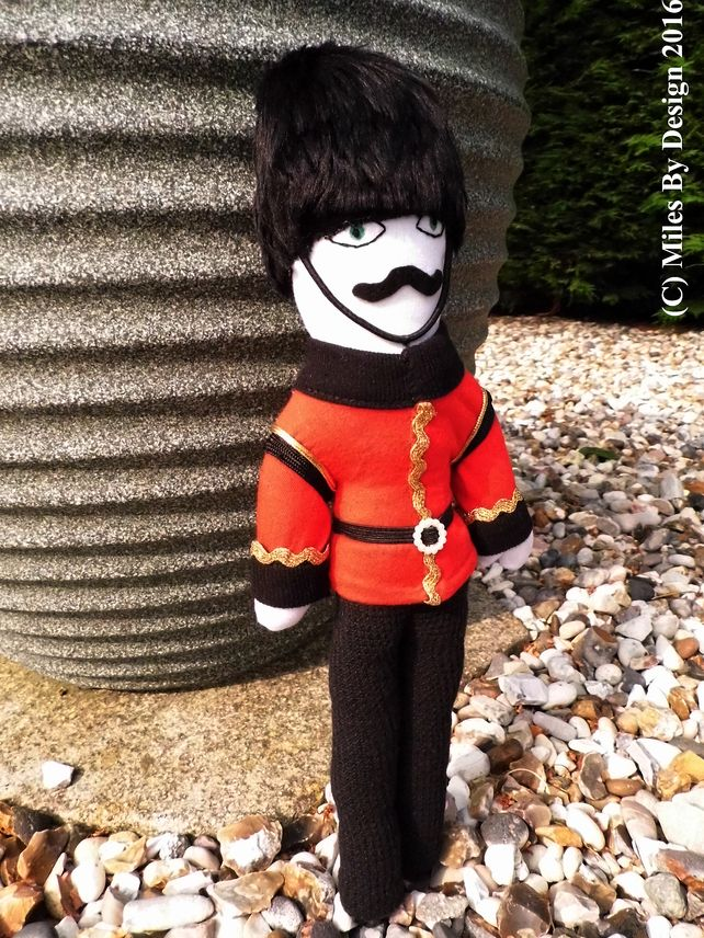 Commemorative  OOAK Queen's Guard Doll - With 2016 being the year of the Queens 90th Birthday, I wanted to make an item that would celebrate this moment in time.  Standing to attention in his bearskin hat and smart uniform, Barnaby is awaiting his orders. - ONLY £18.95 Free P&P - #Handmade #British #England #OOAKdoll #Doll #Queensguard #Folksy - www.milesbydesign.co.uk