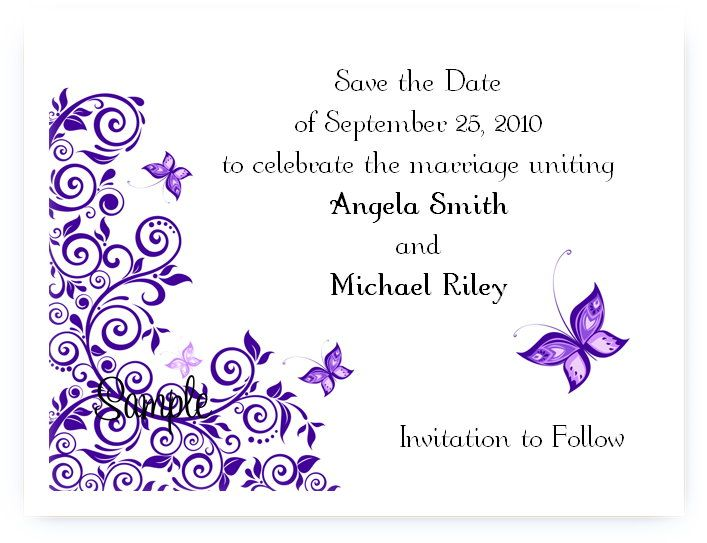 save the dates with butterflies   ... Personalized Bridal Wedding Butterfly Purple Save The Date Cards