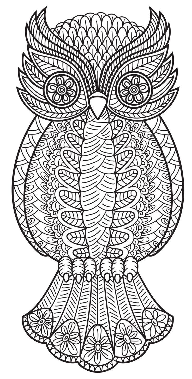 Mystical mandala coloring pages - An Owl From Patterns Coloring Book Vol 3