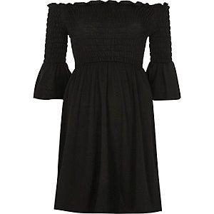 Black cold shoulder flute sleeve dress