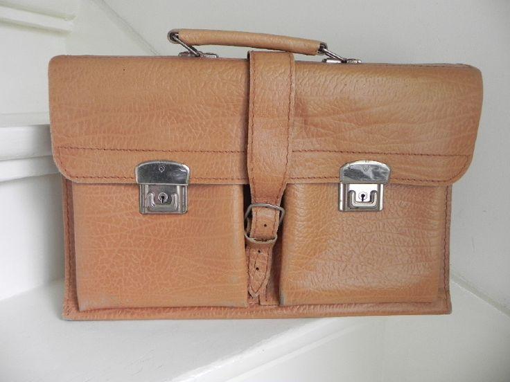 Vintage Oldskool schooltas aktentas boekentas schoolbag (1965)