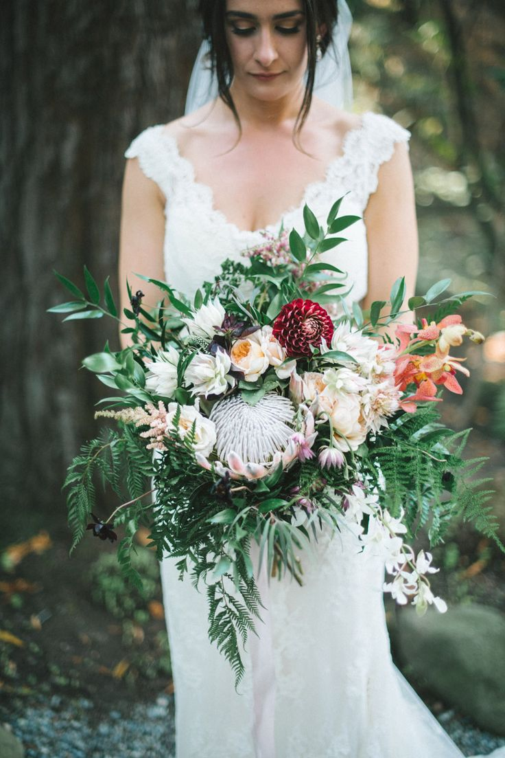 King Protea Wedding Bouquet by Fogcutter SF - Shannon Rosan Photography - rosanweddings.com