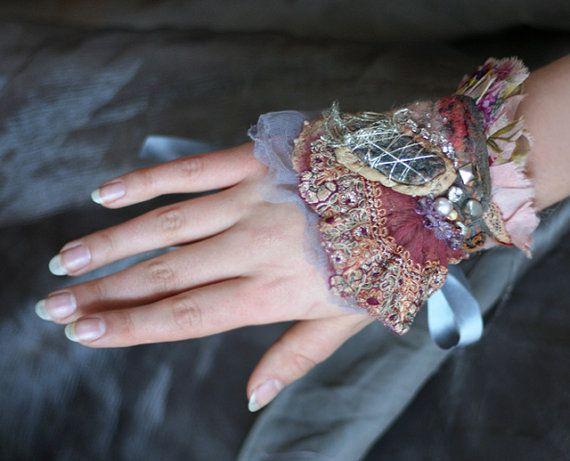 Rose dust  delicate romantic wrist wrap cuff by FleurBonheur,