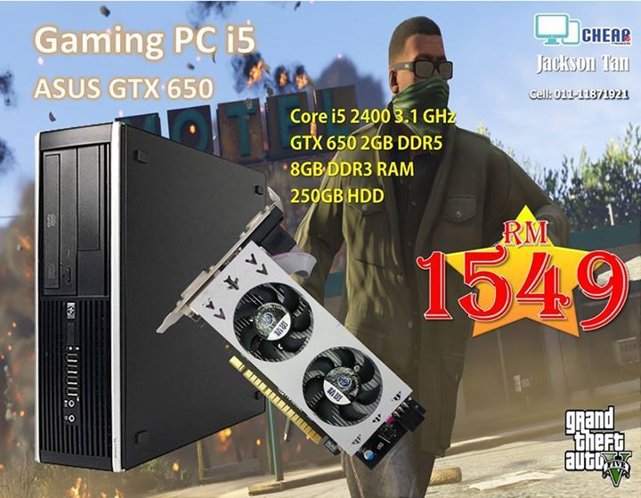 GTA 5 Medium graphic setting (Pre - order )  Processor : Core i5 2400 3.1 GHz RAM : 8GB DDR3 RAM HDD : 250GB HDD ODD : DVD-RW COA : Window 7 Pro original license GPU : GTX 650 2GB DDR5  Casing : HP 8200 pro small form factor casing  Warranty : 3 Month Add RM 219 for 19 inch wide monitor  Add RM 359 for 23.6 inch wide monitor #electronics #mobiles #mobilesaccessories #laptops #computers #games #cameras #tablets   #3Dprinters #videogames  #smartelectronics  #officeelectronics