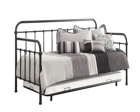 """DARK BRONZE TWIN METAL DAYBED WITH TRUNDLE DAY BED: 81.00"""" W X 41.75"""" D X 43.25""""…"""