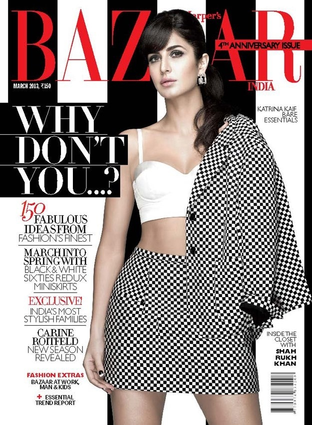 Katrina Kaif on The Cover of Harper's Bazaar Magazine - March 2013.