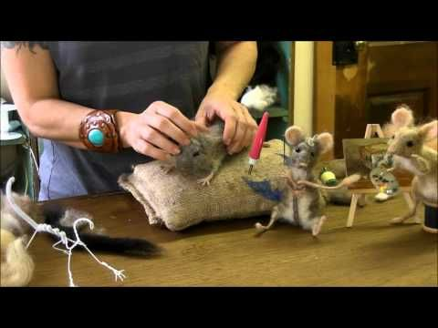 fantastic episode tutorial on how to shape the mouses face and ear and eyes.▶ How To Needle Felt - Mouse Series 6: Eyes and Ears - YouTube