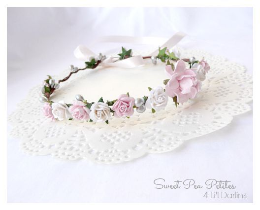 Pink and White Blossom Petite Crown-Flower crown, newborn, floral halo