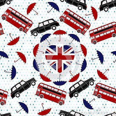 Textura,diseño, alusivo al Reino Unido. La bandera, el autobus de dos pisos, sombrilla, etc.