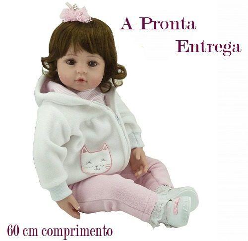 Bebe Reborn Boneca Bebe 60cm + Acessórios A Pronta Entrega