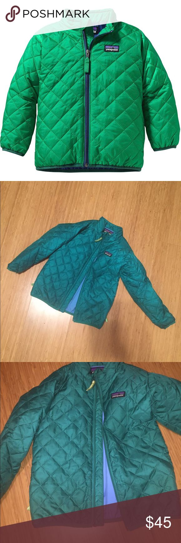 4T Children's Patagonia Nano Puff Down Jacket Adorable lightweight and warm Patagonia quilted down nano puff jacket! Size 4T. Photos show it a teal-ish color but it is really more of a teal green color with a blue liner. There are a couple of stains and the quilting is unraveling in a couple of spots but the tag is fresh to never be lost at school! Patagonia lifetime warranty as well to pass down for many kiddos Patagonia Jackets & Coats Puffers