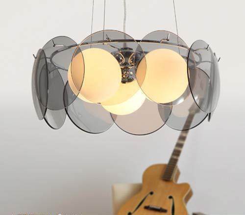 Стекло шт спальня подвесной светильник дымчатый серый стекло подвесной светильник фонарь форма спальня гостиная декоративное освещение