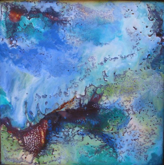 Original Abstract Encaustic Oil Painting