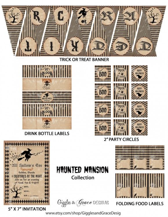 free halloween party printables from giggles grace designs - Pinterest Halloween Printables