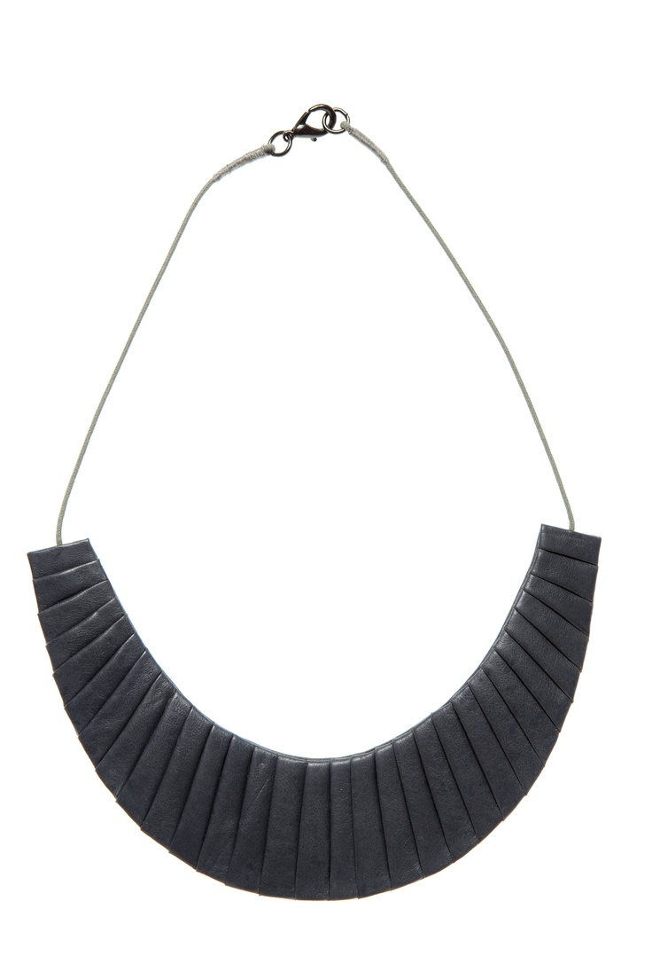 Folded leather necklace in blue smoke by Elk Accessories