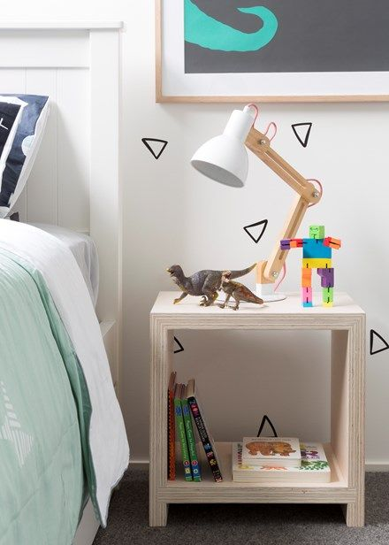 Create a cosy room your toddler will love | an open bedside table makes for easy, visual storage | Home Beautiful Magazine Australia