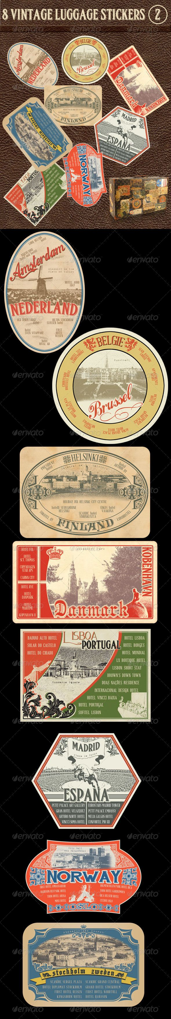 8 Vintage Luggage Stickers 2  #GraphicRiver        This is a collection(2) of 8 professional designed Vintage luggage stickers for any tourism, vacation, travel web site and print. All Photoshop files are easily layered and editable.