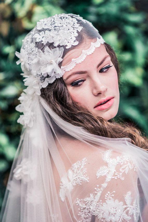 Juliet Cap Veil, Beaded Veil, Vintage Wedding Veil, Bridal Veil, Ivory Veil, Juliet Wedding Veil, Flower Veil, Lace Embroidered Veil WHITNEY